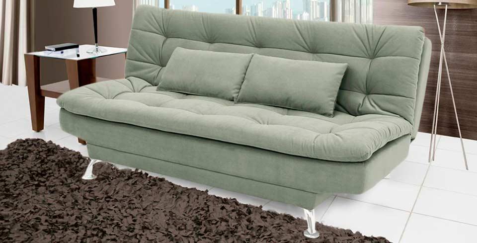Sof cama casal premium suede verde - Sofa cama verde ...