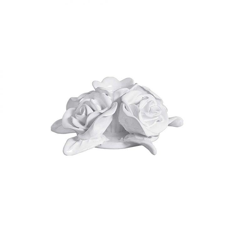 Castiçal Grande 4 Rosas 6x10cm Branca Cerâmica Clara Cod: CE832AC79WXOMOB