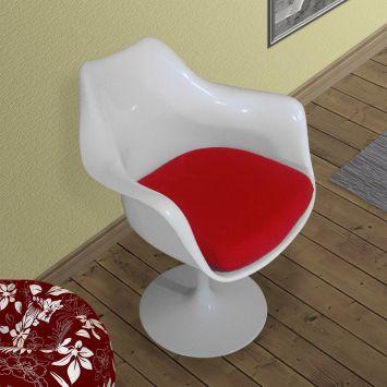 Cadeira saarinen branca com almofada vermelha umix 221