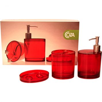 Kit banho oval retro bath set vermelho 3 pcs
