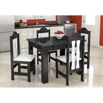 Conjunto de mesa e 4 cadeiras florenca onix branco