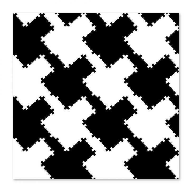 Quadro Abstrato II Uniart Preto & Branco 45x45cm