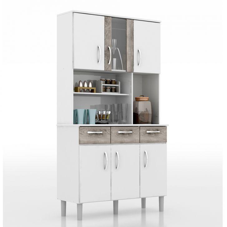 Kit De Cozinha Vitória 6 Portas Com Vidro Branco e Cinza Cod: RO870CL68KVNMOB