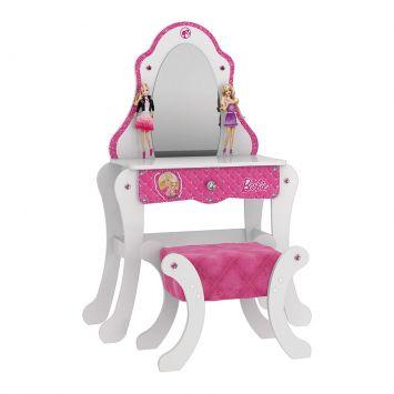 Penteadeira Barbie Premium Com Banqueta - 5A Branco e Pink Premium Mattel T4 Pura Magia Cod: PU077CL58DRLMOB