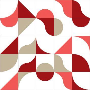 Ladrilho 2D Mix Formas 1 Vermelho 15x15 Cod: HA683AC38XXHMOB