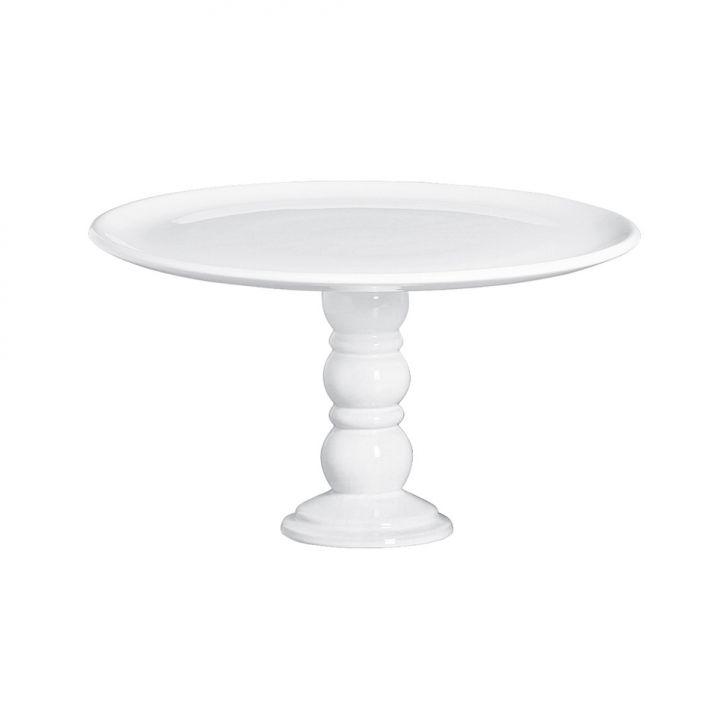 Prato De Bolo Grande Com Pé Romano 22,5x40cm Branco Cerâmica Clara Cod: CE832AC08XEDMOB