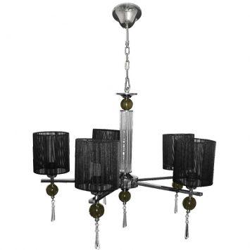 Lustre ouro preto aco cromado 56cm e 27 5 lampadas max 60w preto