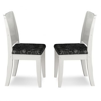 Kit 2 cadeiras de jantar barbara branca preta cimol