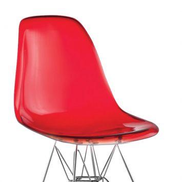 Cadeira eiffel base cromada vermelho translucido