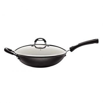 Panela wok com tampa monaco preta 28 cm