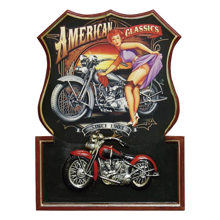 Quadro Moto American Classics 54X40X3 Preto Oldway Cod: OL960AC27KGAMOB