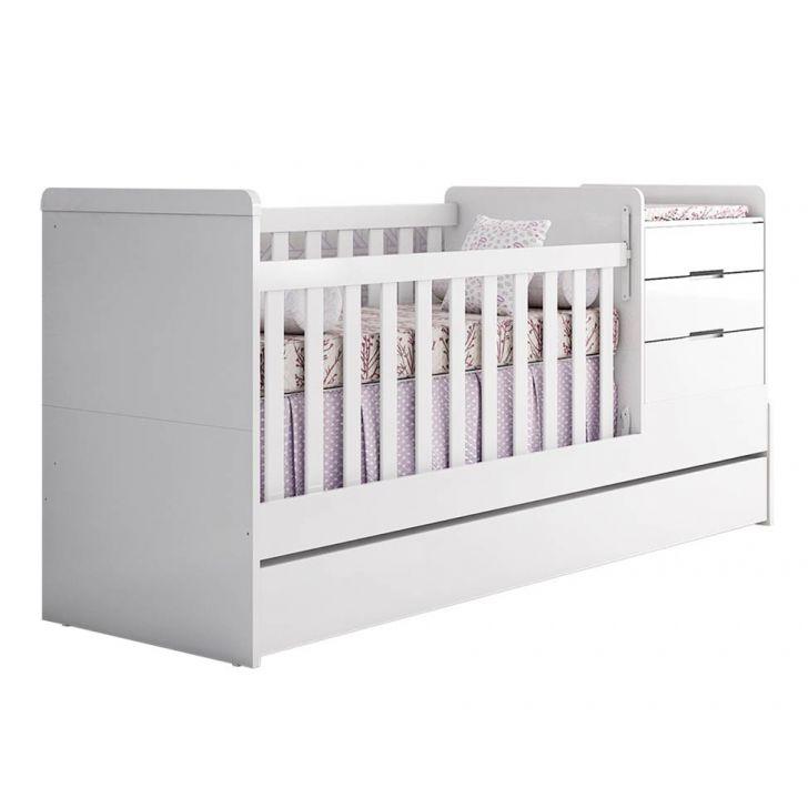 Berço Multifuncional Com Cômoda Cléo 5 Gavetas Branco Carolina Baby Cod: CA888BE17KUSMOB