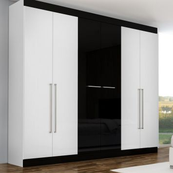 Guarda roupa pegasus 6 pt 3 gv branco preto