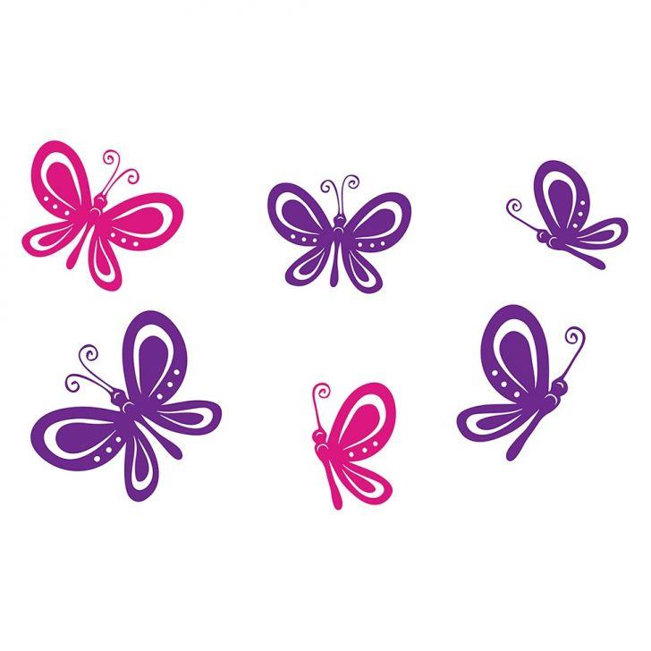 Adesivo Decorativo de Parede Tema Bichos e Animais - BUTTERFLIES 80x55 cm Pink e Roxo BI006-1114