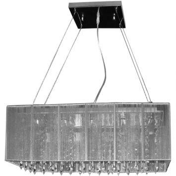 Pendente rammer 50cm retangular e 27 3 lampadas max 60w prata