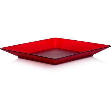 Prato raso quadrado vermelho 22 5 cm