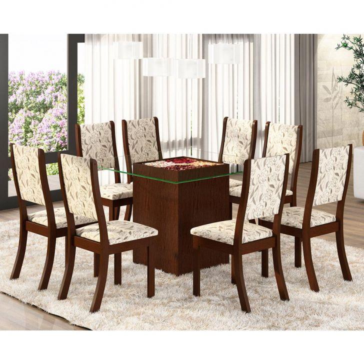 Conjunto de Mesa Mobly Com 8 Cadeiras Kiara Choco e Amêndoa Cod: