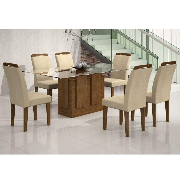 Conjunto de Mesa Amsterdã 1.6 com 6 Cadeiras de Jantar Athenas Ypê e Poá Creme A Cod:
