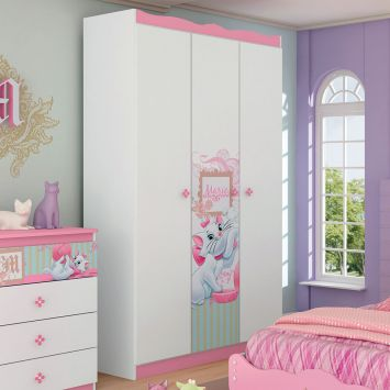 Guarda roupa infantil marie happy 3 pt 2 gv branco rosa pura magia