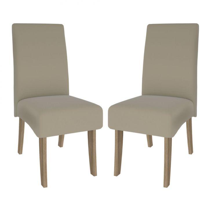 Kit Cadeiras Sala De Jantar ~ Kit 2 Cadeiras de Sala de Jantar Beatriz Suede Nogueira & Bege Cimol