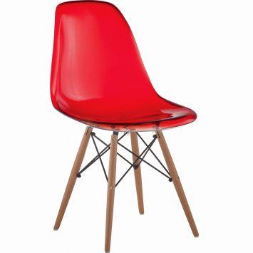 Cadeira eiffel base madeira vermelho translucido
