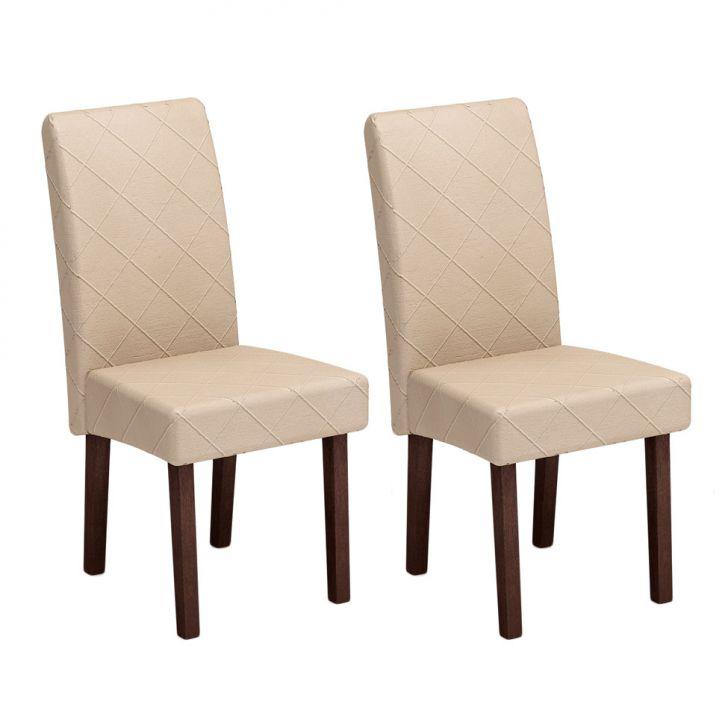 Conjunto 2 Cadeiras CA2702 Castanho E Matelassê Marfim Cod: AM171CH26UKFMOB