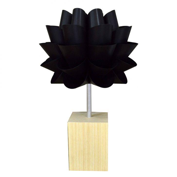 Abajur Lotus Preta 60cm base Madeira Clara 60W Avelis Cod: DE851LI26BARMOB