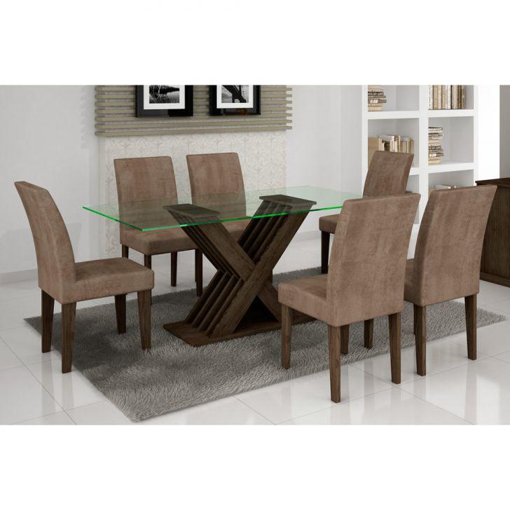 Conjunto De Mesa Verona e 6 Cadeiras Grécia Wengue Animalle Chocolate Cod: