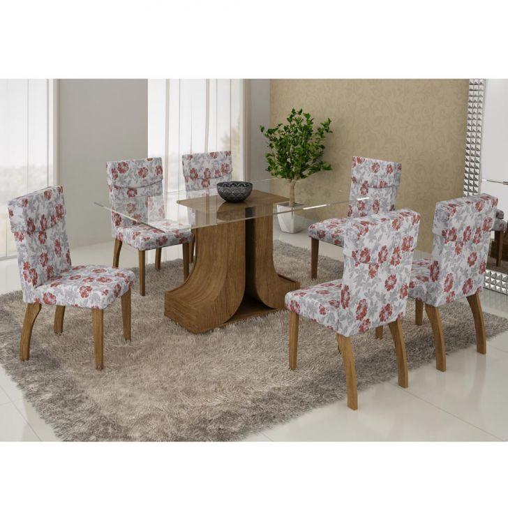 Conjunto de Mesa Olinda 1.6 com 6 Cadeiras Ypê e Floral Primavera Cod:
