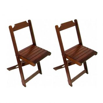Kit 2 Cadeiras Dobráveis de Madeira Imbuia e Tabaco Madesil Cod: MA363CH75LUIMOB