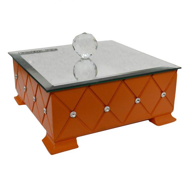 Caixa Madeira Laca Tangerine Espelho Bisote Bola Cristal Strass Swarovski 7x20x20 m collection Cod: LU820AC45BREMOB