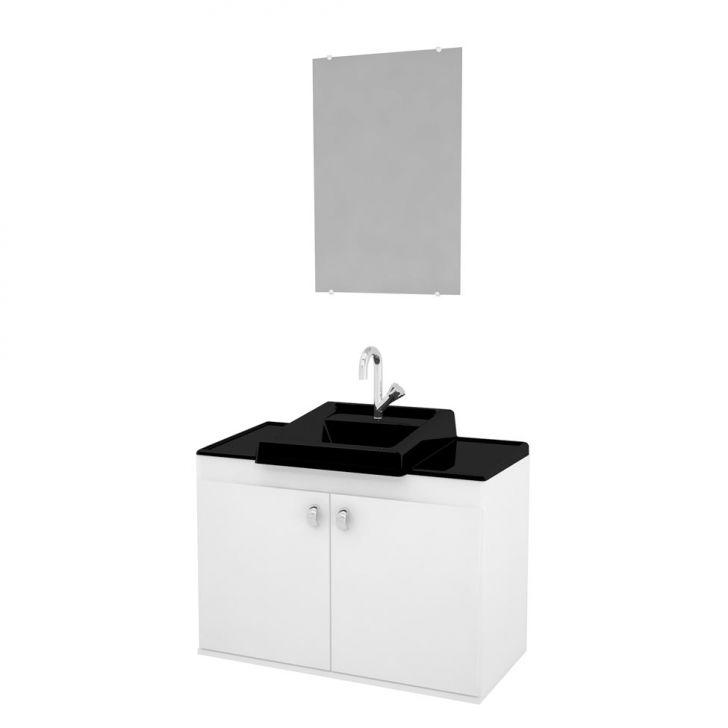Conjunto de Banheiro Roma 50x70 Preto Cod: 7898019619459