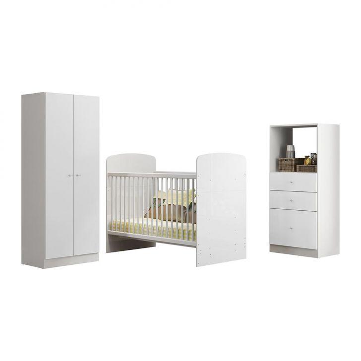 Guarda - Roupa Infantil Com Cômoda e Berço 2314 2 Portas e 3 Gavetas Branco Brilho Multimóveis Cod: MU231CL15YIUMOB