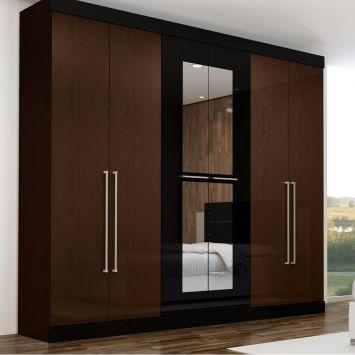 Guarda roupa pegasus com espelho 6 pt 3 gv amendoa preto