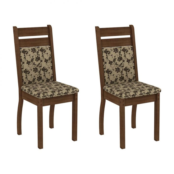 Conjunto 2 Cadeiras Leila Rustic E Floral Cod: MA019CH05GRIMOB