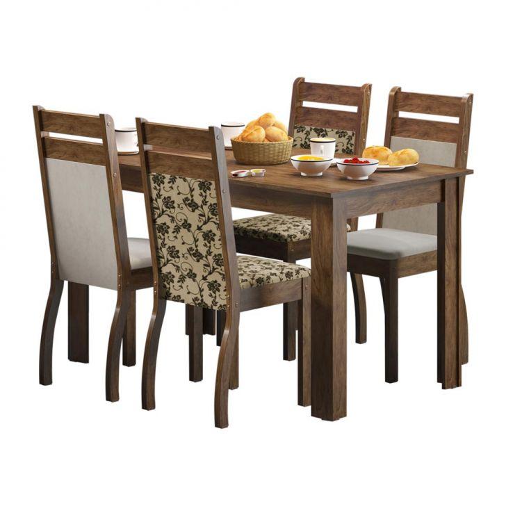 Conjunto Mesa E 4 Cadeiras Leila Rustic E Suéde Pérola Cod: MA019TA94GVPMOB