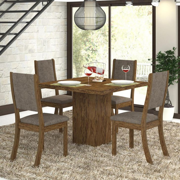 Conjunto de Mesa Gabi com 4 Cadeiras Kiara Avelã e Canela Cod: