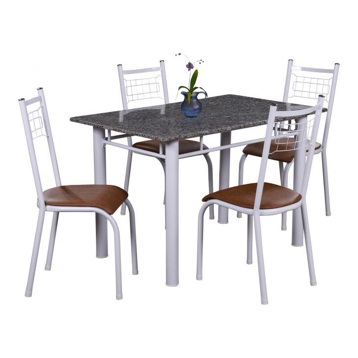 Conjunto de Mesa Gênova com 4 Cadeiras Lisboa Branco Liso E Amadeirado