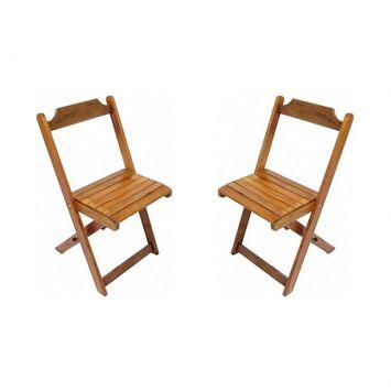 Kit 2 Cadeiras Dobráveis de Madeira Natural Madesil Cod: MA363CH74LUJMOB