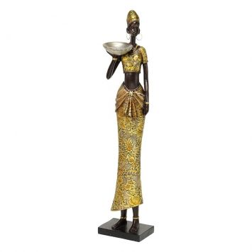 Figura Africana Resina 45x9,5x8 Dourado Cod: MA168AC44XIPMOB
