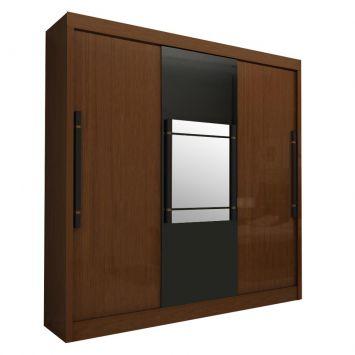 Guarda roupa genisis com espelho 3 pt 6 gv amendoa preto