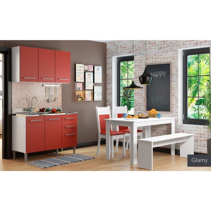 Cozinha Glamy Elis Graciele Com Conjunto de Mesa 2 Cadeiras e Banco | Banqueta Branco e Vermelho Cod: