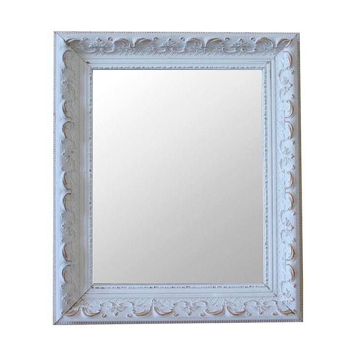 Espelho Moldura Rococó Raso 16278 Branco Patina
