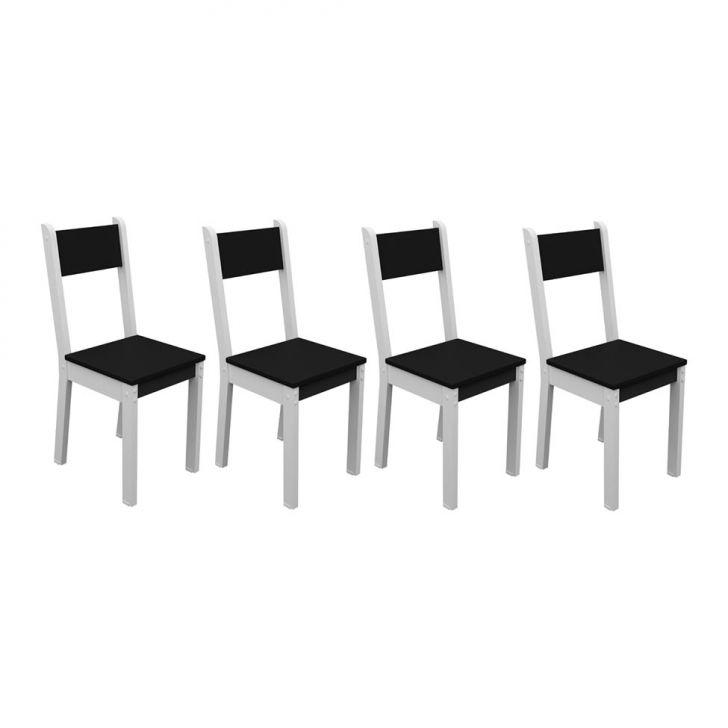 Conjunto 4 Cadeiras Smart Branco E Preto Cod: MA019CH14GUVMOB