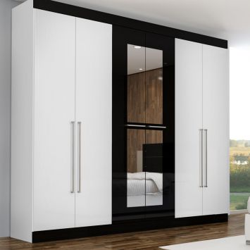 Guarda roupa pegasus com espelho 6 pt 3 gv branco preto gelius