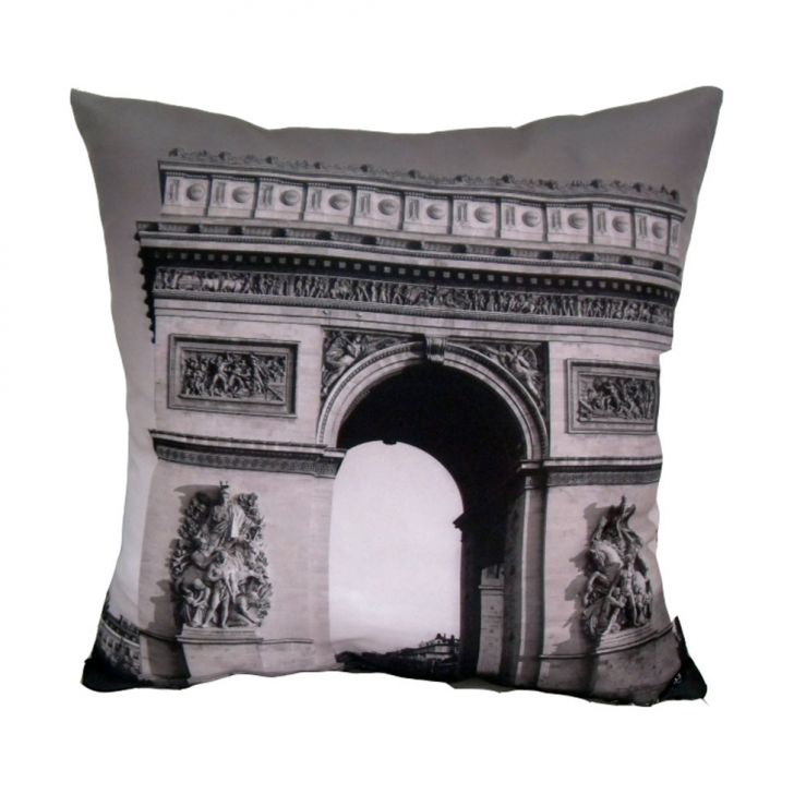 Almofada Impressão Digital Paris Arco Preto e Branco 42x42cm Uniart