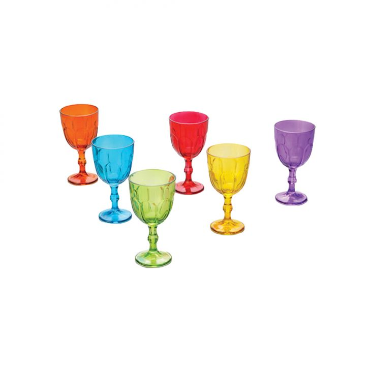 Jogo 6 Taças De Vidro Faces Coloridas 300Ml Cod: 7899768061056