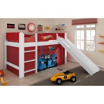 Cama Com Escorregador Hot Wheels Play - 5A Branco e Vermelho Mattel T4 Pura Magia Cod: PU077BE43DVWMOB