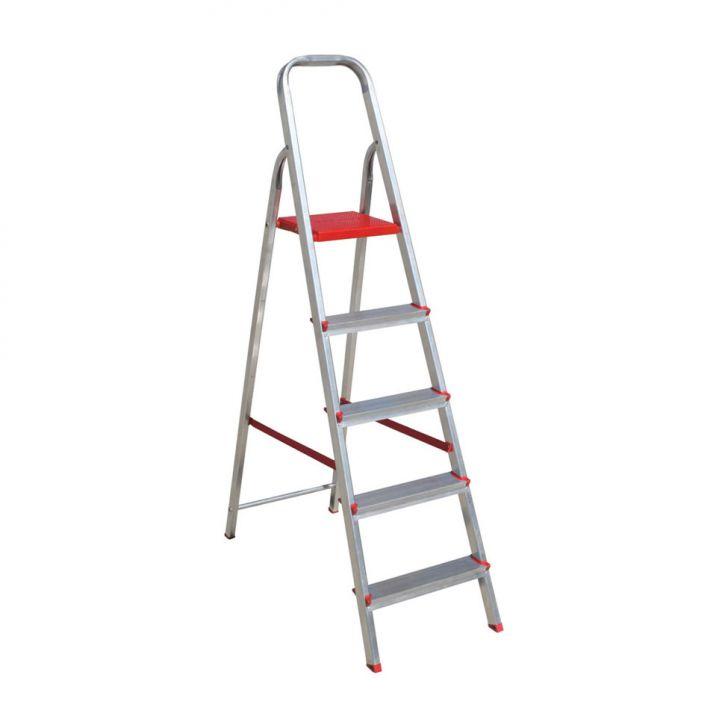 escada de Alumínio Com 5 degraus 106X47 Prata Cod: 7898447320644