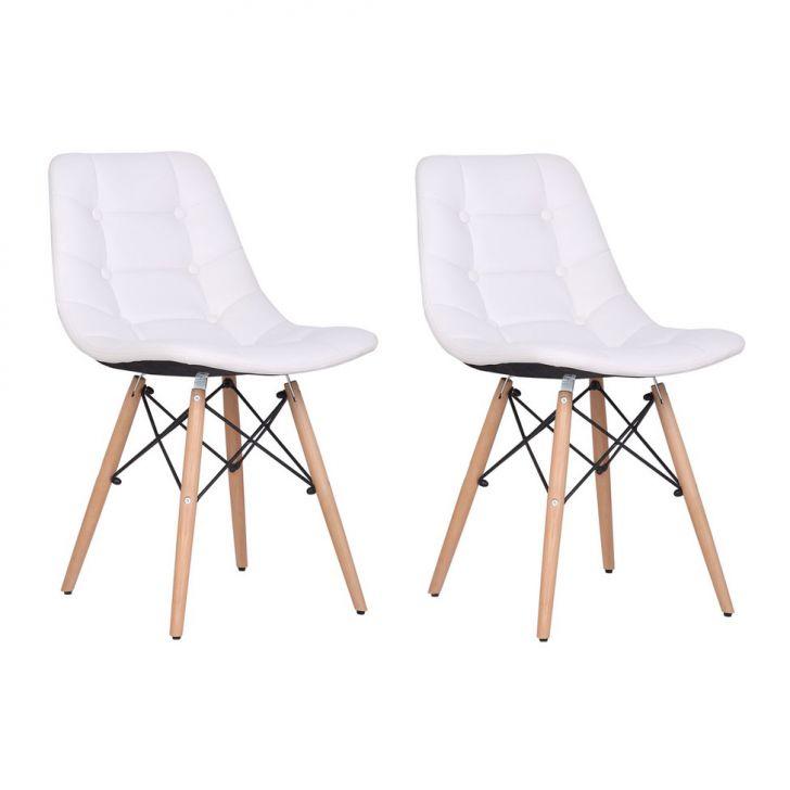 Conjunto 2 Cadeiras de Jantar Eames Estofada Branca Cod: MC926CH33OFMMOB